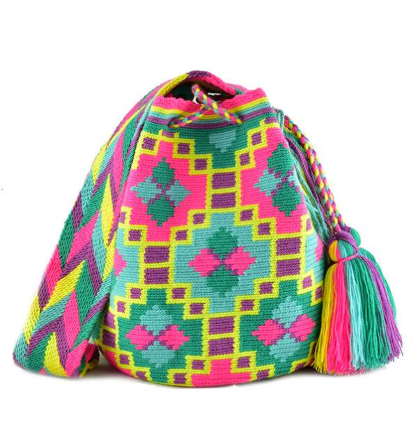 kolorowy neonowy worek mochila wayuu caribela