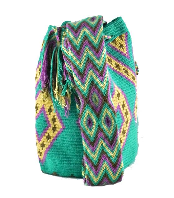 kolorowy zielony worek mochila wayuu caribela